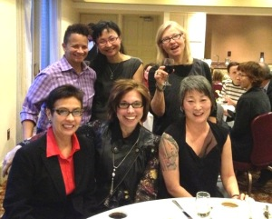 A conference at Brown University that launched the video dialogues. L to R, back row: Kara Keeling, Wendy Chun, Faith Wilding; L to R, front row: Maria Fernandez, Anne Balsamo, Lisa Nakamura