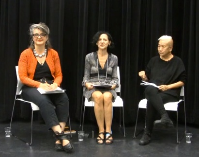 Sara Diamond in center, with Kim Sawchuk (L) and Shu Lea Cheang (R)