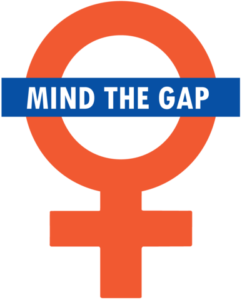 "Female sex symbol with ""mind the gap"" written across it"