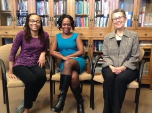 Ready for filming the video dialogue on Bodies at the University of Illinois, Urbana-Champaign. L to R: Dorothy Roberts, Karen Flynn, and Sharon Irish